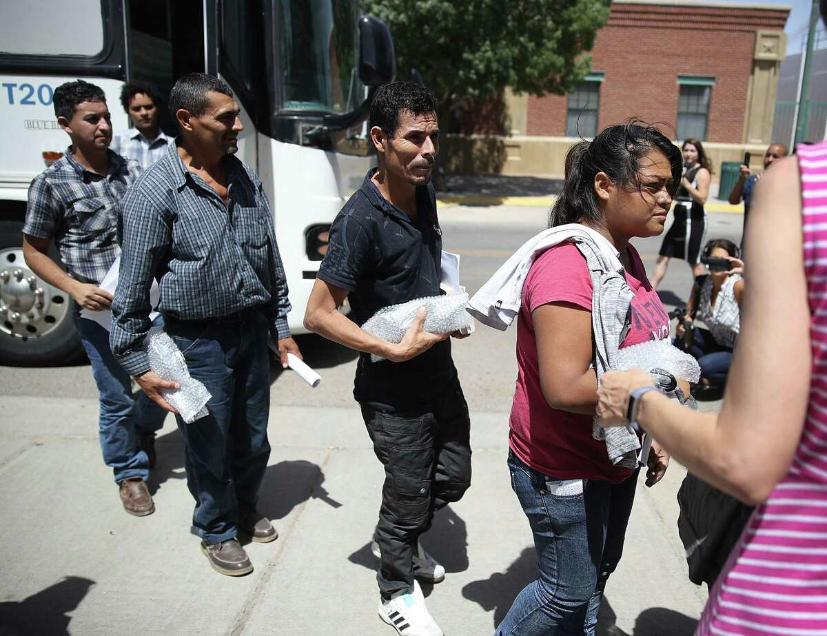 Migrant parents, all of whom were separated from their children by U.S Customs and Border Patrol, arrive at the Annunciation House migrant shelter after being released from U.S. Customs and Border Protection custody on June 24, 2018 in El Paso, Texas. The 32 parents that arrived had faced charges for illegal entry into the United States and will continue with the legal process as they wait to be reunited with their children.