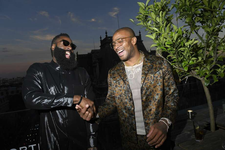 PHOTOS: A look at James Harden trips with his teammates in the past two weeks PARIS, FRANCE - JUNE 21:  (L-R) James Harden and PJ Tucker attend the Cocktail Party for Mr Porter at Perchoir Du Marais as part of Paris Fashion Week on June 21, 2018 in Paris, France.  (Photo by Victor Boyko/Getty Images For Mr Porter ) Browse through the photos above for a look at James Harden's trips with his teammates the past two weeks. Photo: Victor Boyko/Getty Images For Mr Porter
