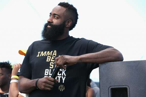 "LOS ANGELES, CA - JUNE 24:  James Harden onstage at ""Imma Be a Star"" Block Party at Audubon Middle School on June 24, 2018 in Los Angeles, California.  (Photo by Phillip Faraone/Getty Images for adidas)"
