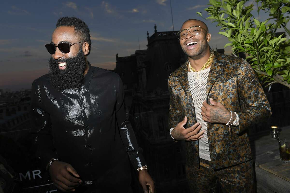 PARIS James Harden and P.J. Tucker, Rockets James Harden and PJ Tucker attend the Cocktail Party for Mr Porter at Perchoir Du Marais as part of Paris Fashion Week on June 21, 2018 in Paris, France.
