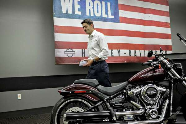 House Speaker Paul Ryan, a Republican from Wisconsin, at the Harley-Davidson Inc. facility in Menomonee Falls, Wisconsin, on Sept. 18, 2017.