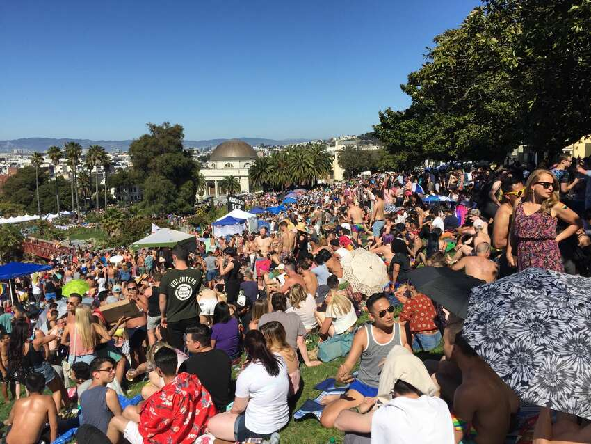 San Francisco's Dolores Park was crowded on Sat., June 24, during the Dyke March festivities.
