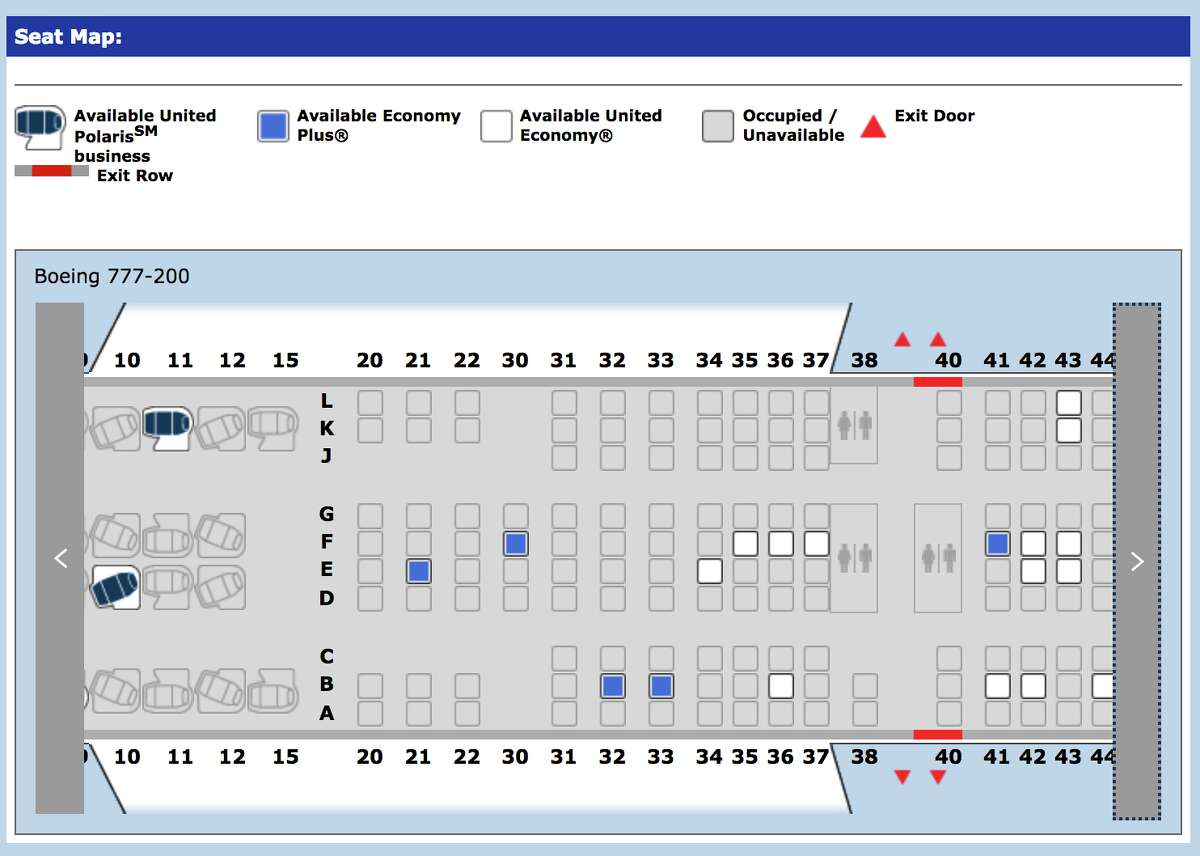 Seat map of United's Boeing 777-200 with Premium Plus in rows 20-22.