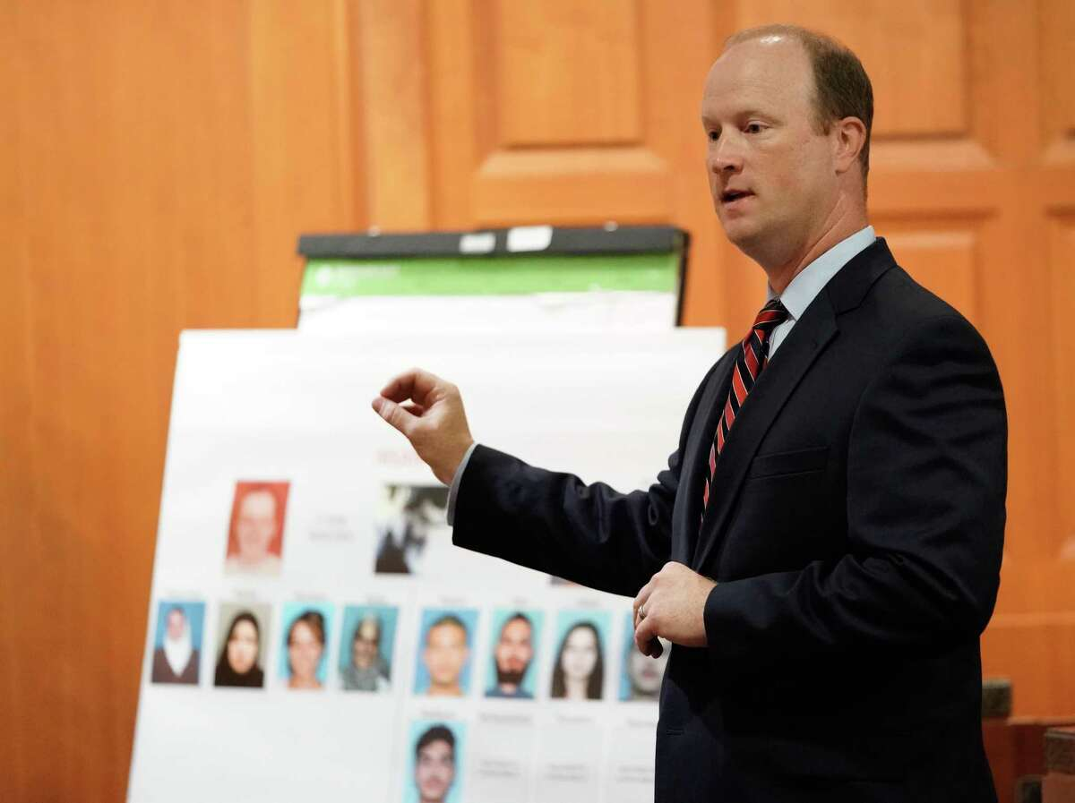 Prosecutor Jon Stephenson gives an opening statement during the capital murder trial of Ali Mahwood-Awad Irsan is shown in court Monday, June 25, 2018. Irsan was charged with capital murder because his alleged crime involved multiple victims - his daughter's best friend, Gelareh Bagherzadeh, an Iranian medical student and activist, and his daughter's husband, Coty Beavers, 28. Both slayings, authorities said, were driven by the anger of Irsan, a conservative Muslim, over his daughter Nesreen's decision to marry Beavers, a Christian from Houston.