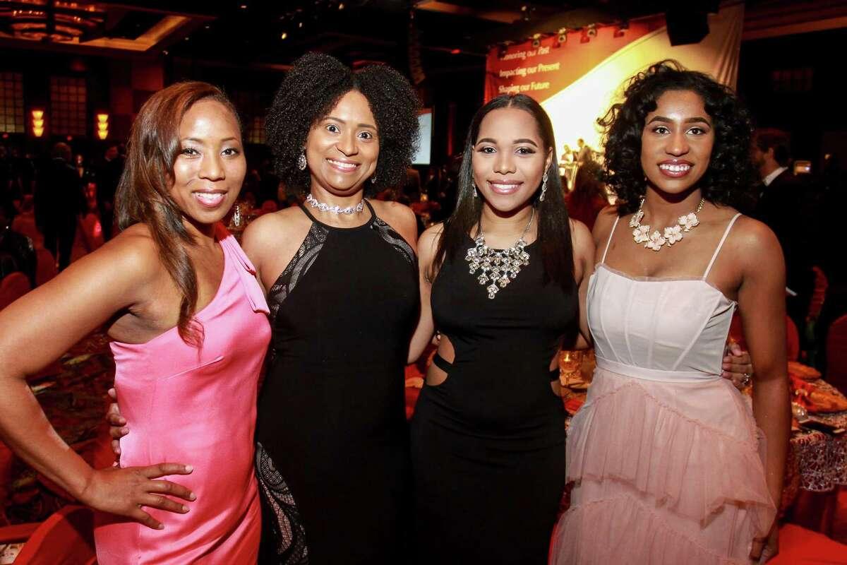 Saki Indakwa, from left, Jaime White, Sydnee Vinnett and Hailey Simpson at the Houston Area Urban League's 50th anniversary gala.