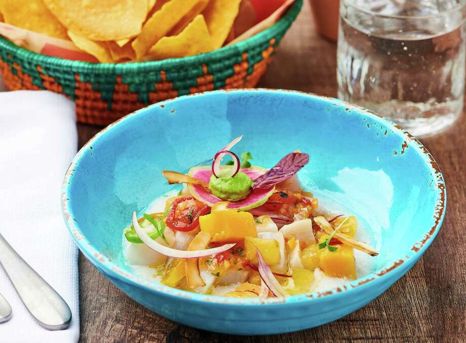 Mi Almita Cantina, chef Hugo Ortega's culinary collaboration with chef Michael Mina, opens the week of June 25 at Mina's The Street Food Hall in Honolulu. Mi Almita Cantina features a menu of coastal Mexican food. Shown: Line-caught blue marlin ceviche. Photo: Mina Restaurant Group / NOMADDM