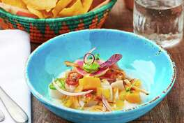 Mi Almita Cantina, chef Hugo Ortega's culinary collaboration with chef Michael Mina, opens the week of June 25 at Mina's The Street Food Hall in Honolulu. Mi Almita Cantina features a menu of coastal Mexican food. Shown: Line-caught blue marlin ceviche.