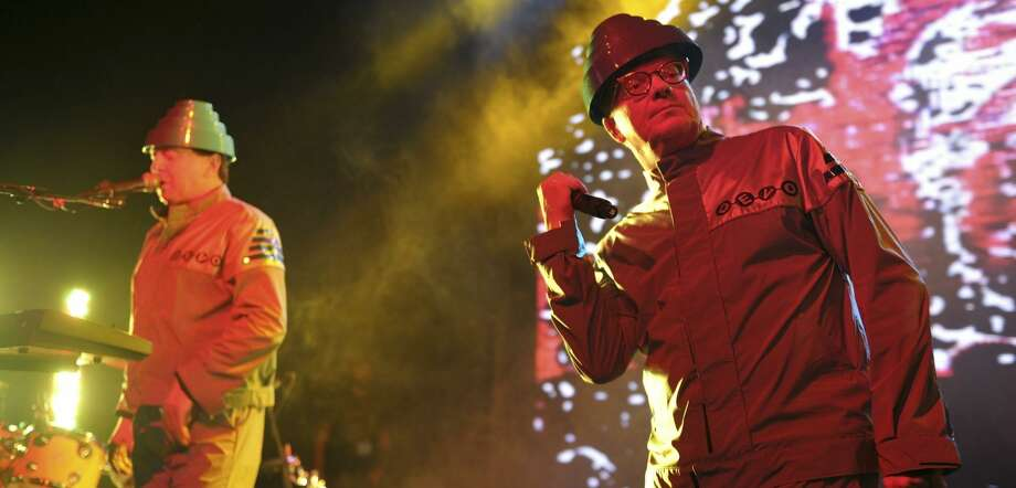 Gerald Casale (left) and Mark Mothersbaugh of Devo perform in Los Angeles in 2011. The group headlines Burger Boogaloo this weekend. Photo: John Shearer / Getty Images 2011 / Getty Images North America