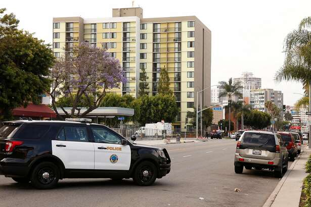 Street scene from Covenant Manor at 4th Street and Atlantic Avenue in Long Beach, Calif., where a shooting left one firefighter dead and a second wounded Monday morning, June 25, 2018. (Al Seib/Los Angeles Times/TNS)