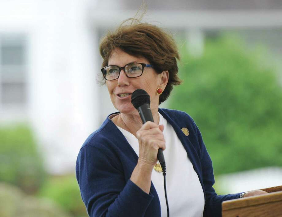 State Rep. Livvy Floren speaks at a ceremony following the annual Byram Veterans Association Memorial Day Parade in the Byram section of Greenwich, Conn. Sunday, May 27, 2018. Members of the Byram Veterans marched through the streets with town leaders before a small ceremony of remembrance and honor in front of the Byram Shubert Library. Photo: Tyler Sizemore / Hearst Connecticut Media / Greenwich Time
