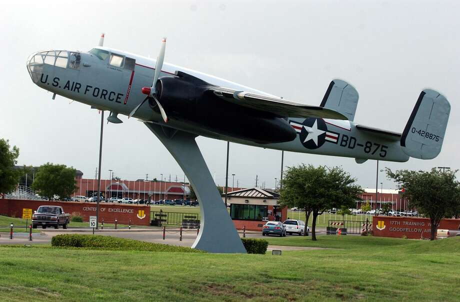 A B-25 Mitchell bomber is displayed at the gate of Goodfellow AFB in San Angelo. Goodfellow's missions are intelligence, fire protection and special instruments, but it will be the site of a detention facility for immigrant children who arrive at the border without their parents. JOHN DAVENPORT / STAFF Photo: JOHN DAVENPORT /SAN ANTONIO EXPRESS-NEWS / SAN ANTONIO EXPRESS-NEWS