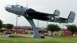 A B-25 Mitchell bomber is displayed at the gate of Goodfellow AFB in San Angelo. Goodfellow's missions are intelligence, fire protection and special instruments, but it will be the site of a detention facility for immigrant children who arrive at the border without their parents. JOHN DAVENPORT / STAFF