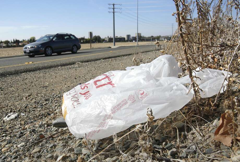FILE-In this file photo taken Friday, Oct. 25, 2013, a plastic shopping bag liters the roadside in Sacramento, Calif. Gov. Jerry Brown has signed legislation on Tuesday, Sept. 30, 2014 imposing the nation's first statewide ban on single-use plastic bags.  (AP Photo/Rich Pedroncelli) Photo: Rich Pedroncelli, Associated Press