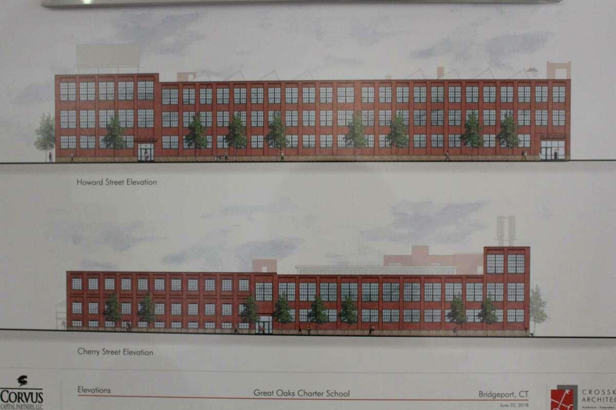 Exterior site plans for the new Great Oaks Charter School of Bridgeport.