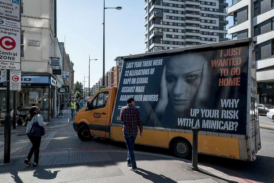 An anti-Uber billboard gets driven around London by the Licensed Taxi Drivers' Association last year. Photo: Andrew Testa / New York Times