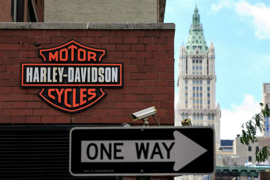 The Harley Davidson logo is displayed on the outside of the Harley-Davidson of New York City store, June 25, 2018 in New York City. The American motorcycle company announced on Monday that it will shift production of some of its bikes overseas in order to avoid retaliatory tariffs by the European Union in response to U.S. President Donald Trump's tariffs on steel and aluminum imported from the EU. Photo: Drew Angerer /Getty Images / 2018 Getty Images