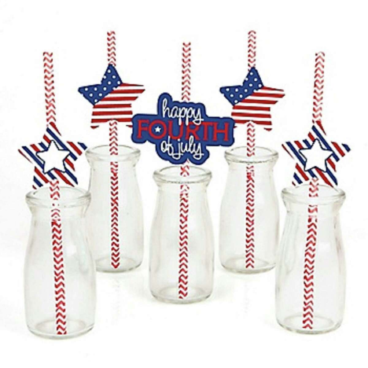 Decorative straws:Kids, and adults who act like them, will love drinking punch or other beverages with these festive stars-and-stripes themed party straws. The DIY kit comes with stickers, paper cutouts and straws, and you can use them for straws or as cupcake decorations. $16.90 (set of 25); jet.com