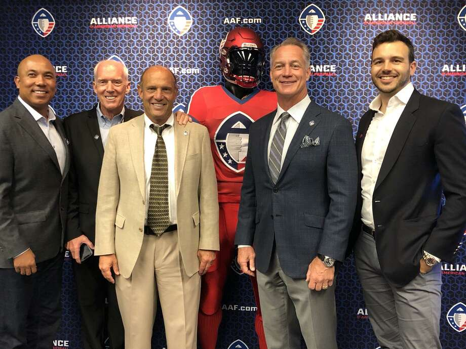 "San Antonio will be home to a new professional football team as a part of the newly-formed Alliance of American Football. The team will be coached by former Oregon State coach Mike Riley, third from left, and the general manager will be former Cowboys fullback Daryl ""Moose"" Johnston, second from right. Photo: /"