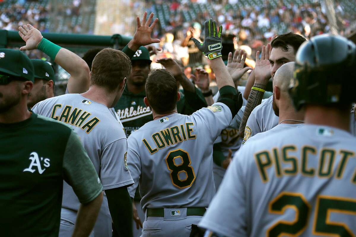 DETROIT, MI - JUNE 25: Jed Lowrie #8 of the Oakland Athletics celebrates his ninth inning solo home run with teammates while playing the Detroit Tigers at Comerica Park on June 25, 2018 in Detroit, Michigan. (Photo by Gregory Shamus/Getty Images)