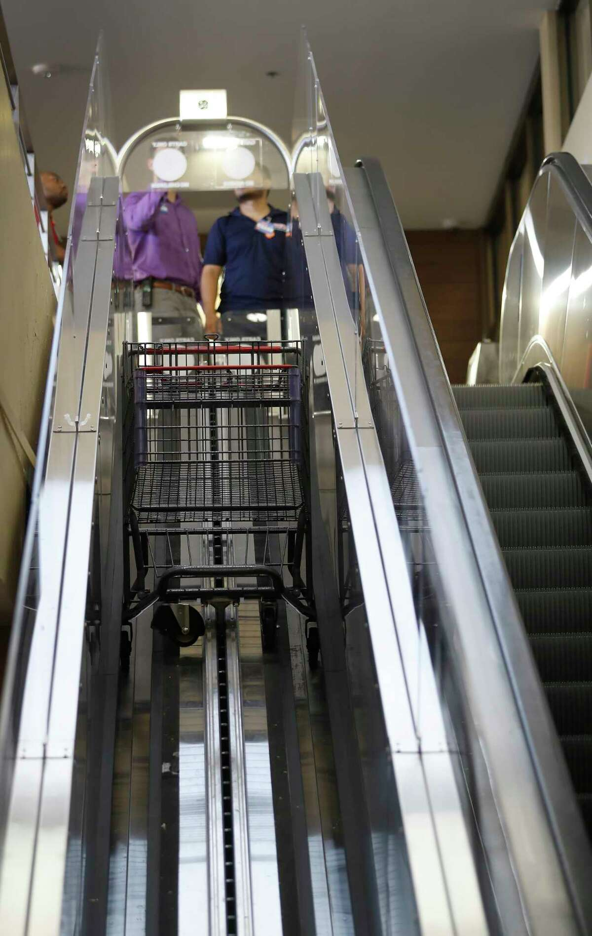 The shopping cart escalator is tested at the new H-E-B store, Monday, June 25, 2018, in Bellaire. It's the first two-story H-E-B to open in the Houston area.