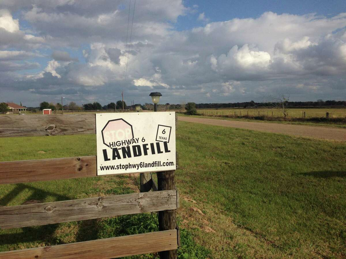 This 2014 file photos shows a sign along Kelley Road, off Highway 6, protesting the proposed Waller County landfill. Green Group Holdings LLC said on June 25, 2018 that it was withdrawing plans to build the 250-acre landfill.