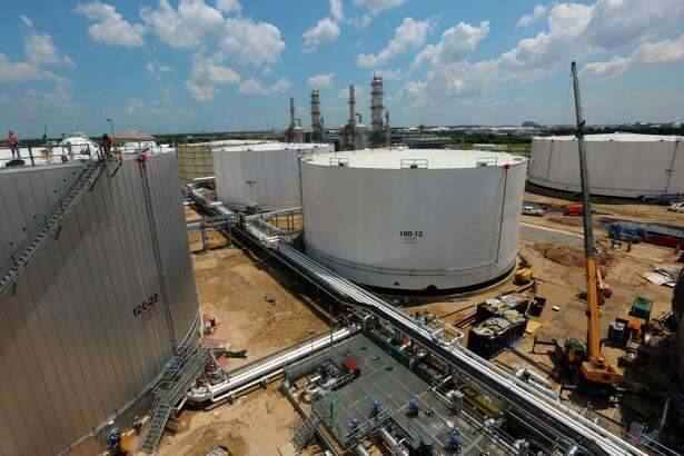 Tanks and Distillation Towers at the Kinder Morgan Splitter facility in Galena Park, Texas, June 2, 2015. (Billy Smith II / Houston Chronicle)