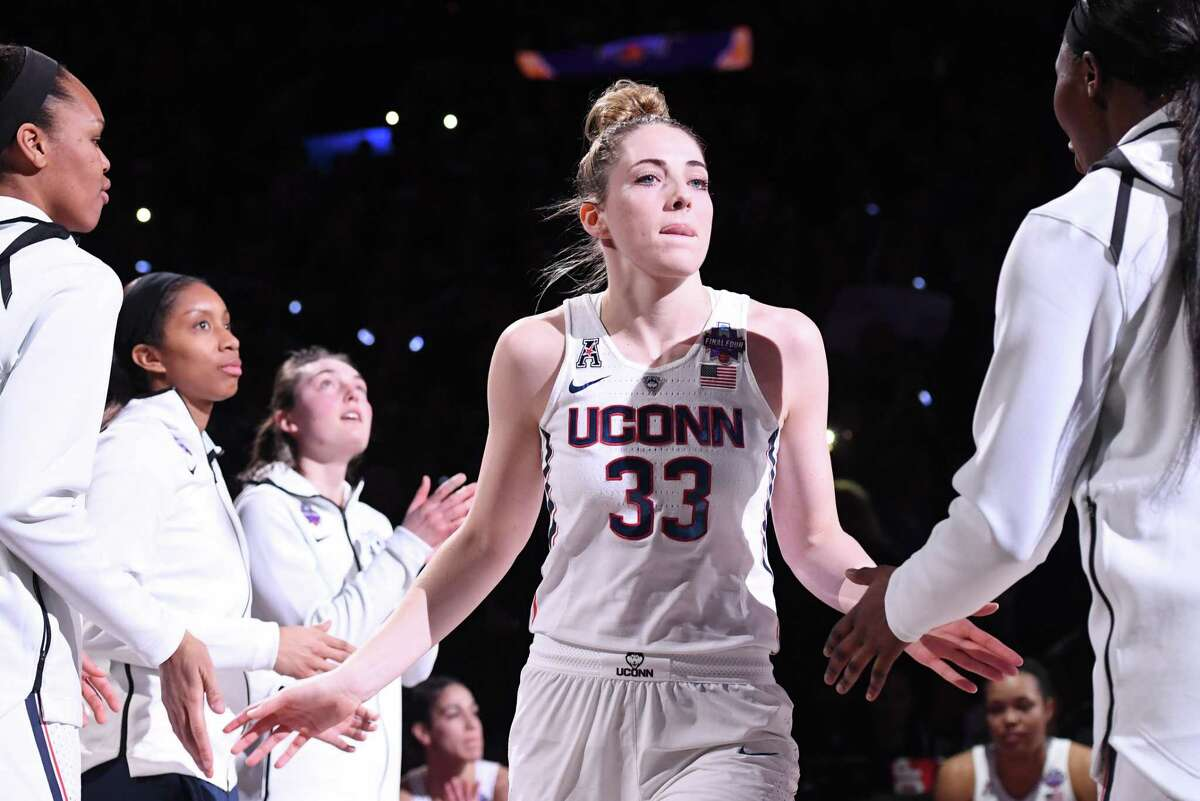 COLUMBUS, OH - MARCH 30: Katie Lou Samuelson #33 of the Connecticut Huskies is introduced during the semifinal game of the 2018 NCAA Division I Women's Basketball Final Four between the Connecticut Huskies and the Notre Dame Fighting Irish at Nationwide Arena on March 30, 2018 in Columbus, Ohio. Notre Dame defeated Connecticut 91-89 to advance to the National Championship. (Photo by Justin Tafoya/NCAA Photos via Getty Images)