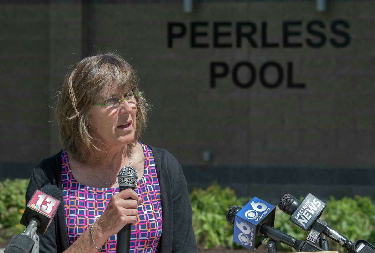 Rose Harvey, Commissioner of NYS Parks and Recreation speaks at the reopening ceremony of the newly renovated Peerless Pools on the grounds of the Saratoga State Park June 25, 2018 in Saratoga Springs, N.Y. (Skip Dickstein/Times Union)
