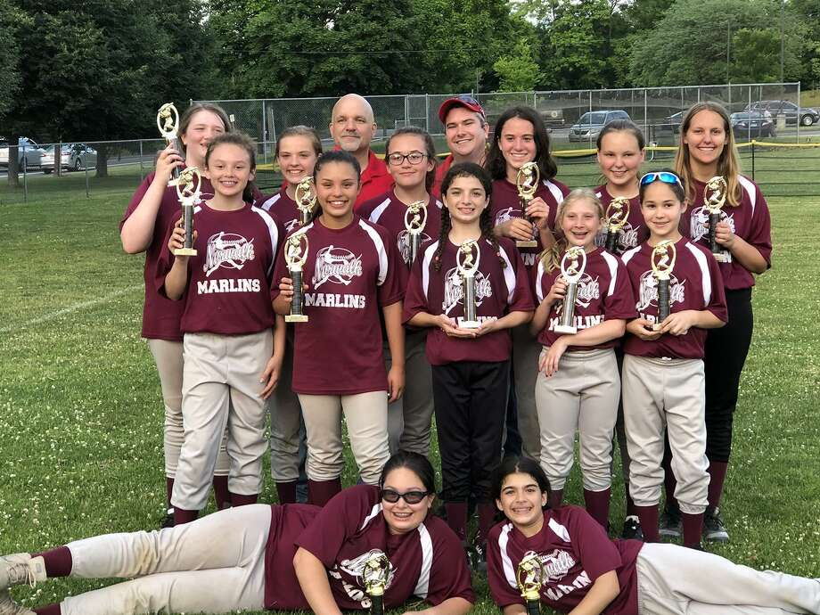 The Dooney and Bourke Marlins defeated the Perfect Plantings LLC Stingrays for the Norwalk Girl's Babe Ruth Softball League Division 2 championship, 17-6. Elizabeth Keegan pitched for the win. Ashley Haller led the offensive attack with 3 hits, Julia Macias and Samantha Stone had two hits apiece, while Sofia Ochoa and Catherine Dragotta also had a hit each. On defense, Stone, Dragotta, and Ashley Haller all played exceptionally well. It was a complete team effort in the Marlins victory. Photo: Contributed Photo