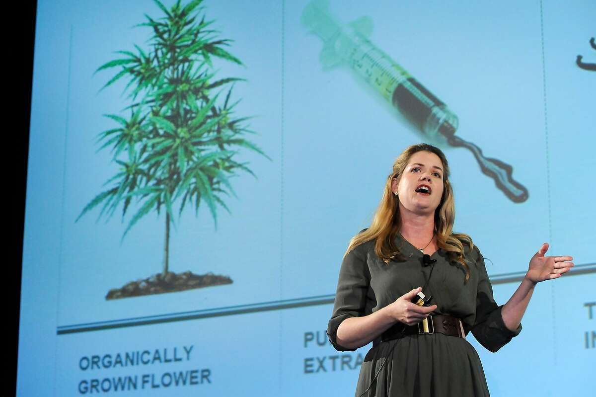 Alison Ettel of edible medical cannabis company Sweet Leaf, gives her pitch to investors during The Archview Group's Investor Pitch Forum for the cannabis industry held at the Fairmont Hotel in San Francisco, CA, on Tuesday, January 27, 2015.