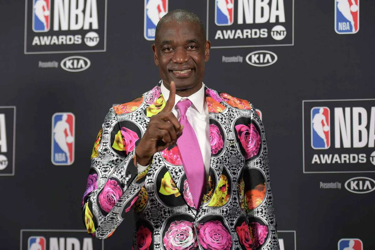Dikembe Mutombo, winner of the Sager Strong Award, poses in the press room at the NBA Awards on Monday, June 25, 2018, at the Barker Hangar in Santa Monica, Calif. (Photo by Richard Shotwell/Invision/AP)