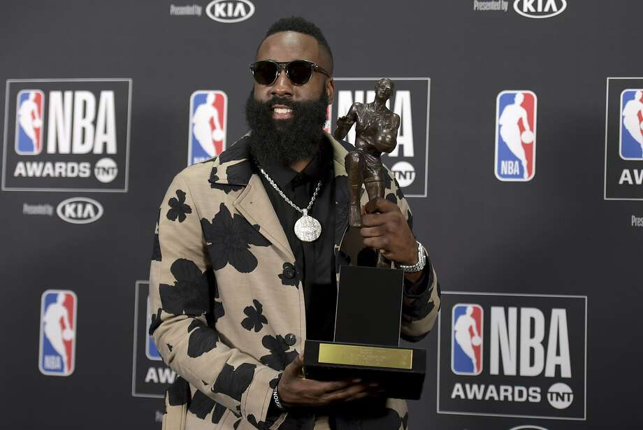 NBA player James Harden, of the Houston Rockets, poses in the press room with the most valuable player award at the NBA Awards on Monday, June 25, 2018, at the Barker Hangar in Santa Monica, Calif. Photo: Richard Shotwell, Associated Press