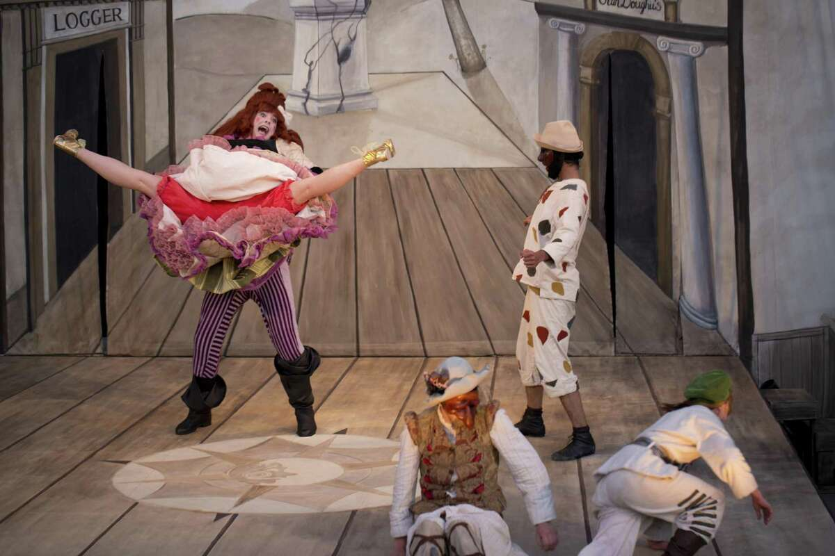"""Dell'Arte International's founders say the company was not named for the colorful Renaissance-era theatrical form commedia dell'arte, which it rarely performs. """"Ruzzante Comes Home From the War"""" is an exception."""