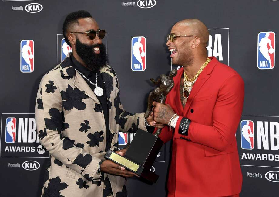 a8142851d6fa PHOTOS: What James Harden and all the stars wore to NBA Awards on Monday  night