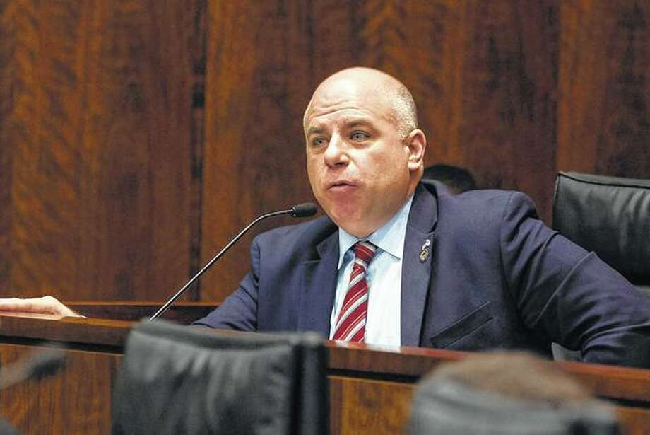 State Sen. Sam McCann speaks during a meeting of the House and Senate's Committees on Veterans Affairs in Chicago. McCann filed signatures Monday to secure a spot on the November ballot against incumbent Gov. Bruce Rauner and Democratic hopeful J.B. Pritzker. McCann is running as part of the Conservative Party as a way to mount a far-right threat to the vulnerable incumbent governor. Photo:       Erin Brown | Sun Times (AP)