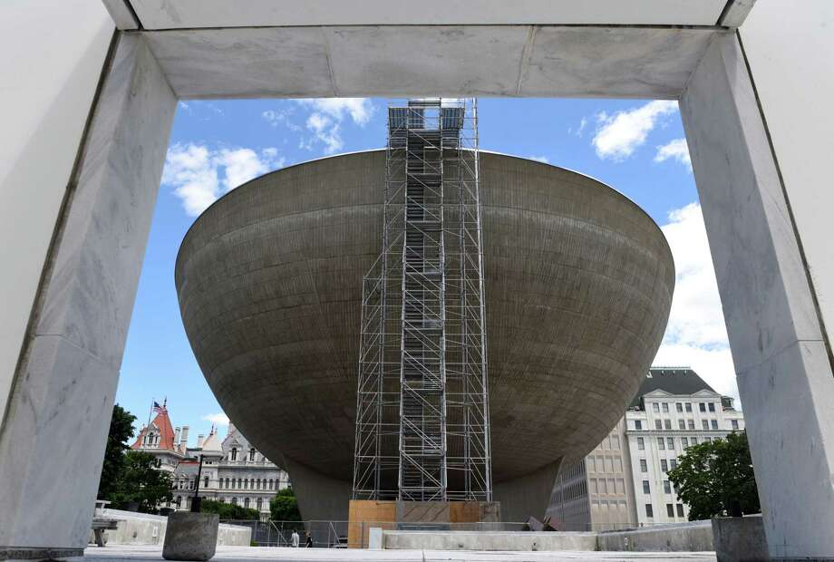 Scaffolding is erected on The Egg, which is undergoing an extensive roof replacement project on Monday, June 25, 2018, in Albany, N.Y.  The project will fully replace both the rubber roofing and an underlying plywood layer that has been damaged over time by water leakage. (Will Waldron/Times Union) Photo: Will Waldron
