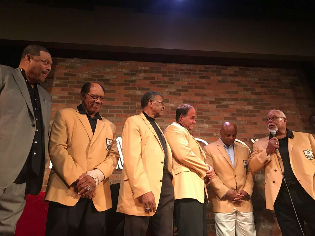 Robert Brazile, Elvin Bethea, Ken Houston, Bruce Matthews, Warren Moon and Curley Culp at the Brazile Roast hosted by SportsRadio 610 at The Improve. Brazile will be inducted into Pro Football Hall of Fame Aug. 4.