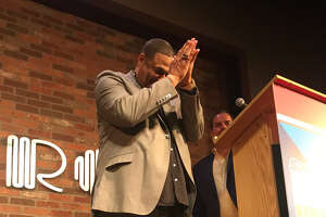 Robert Brazile thanks fans and former Oilers for supporting his roast for the DePelchin Children's Center at The Improv. Brazile will be inducted into the Pro Football Hall of Fame on Aug. 4.