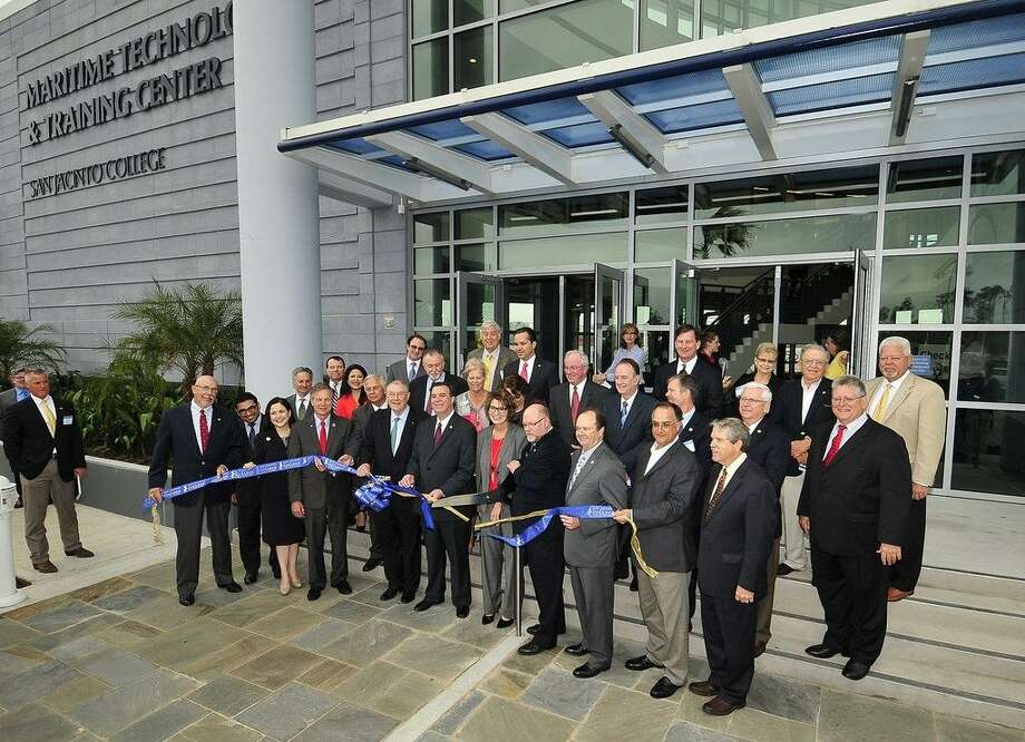 San Jacinto College has been adding facilities. Its Maritime Technology and Training Center, above, opened in March 2016 on the Houston Ship Channel, and and its Center for Petrochemical, Energy, and Technology is set to open next year at the main campus in Pasadena. / Internal