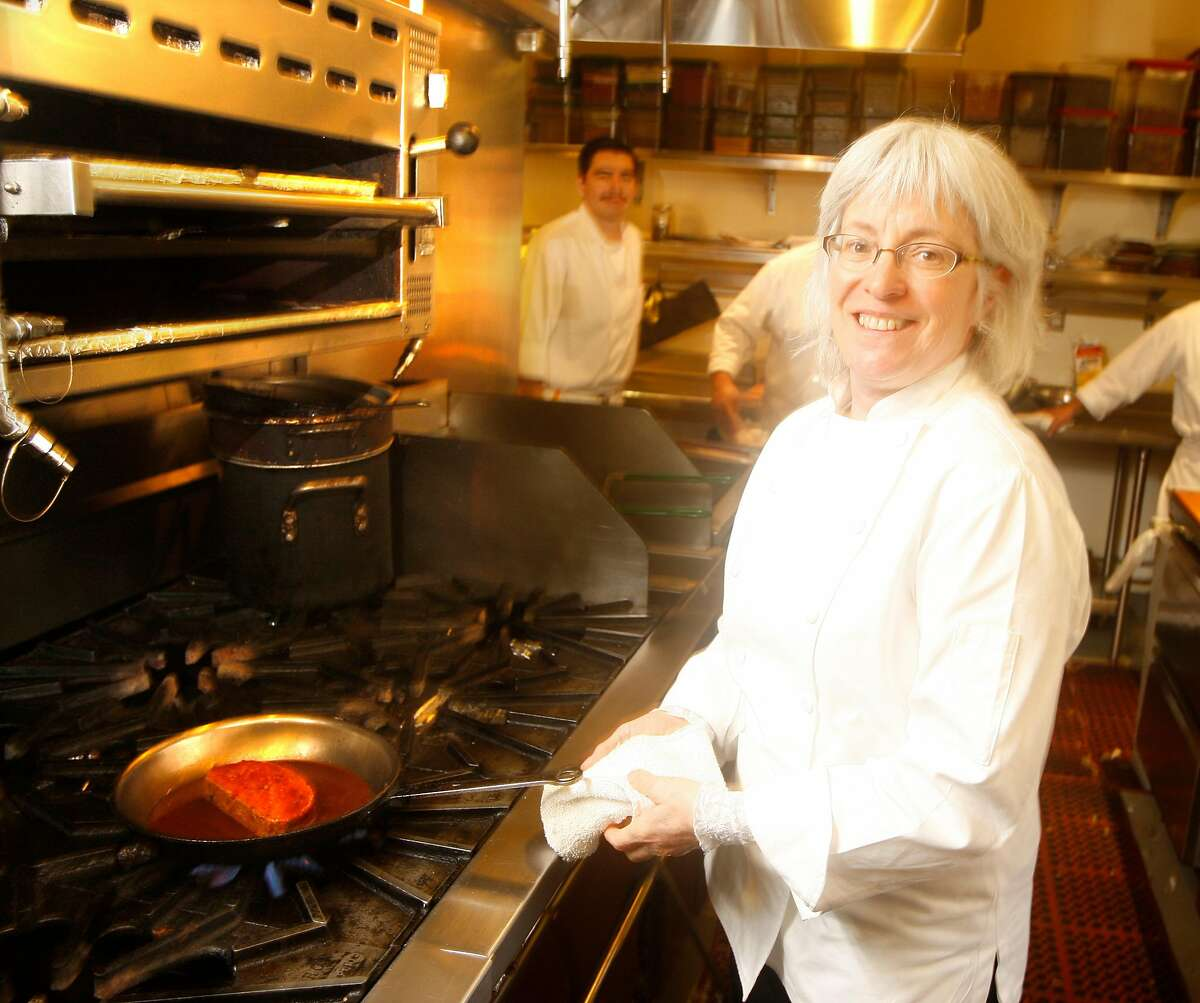 """Chef Cindy Pawlcyn making her """"Mighty Meatloaf"""" dish with Horseradish Barbeque sauce at Cindy's Backstreet Kitchen in St. Helena, Calif., on January 28, 2009."""