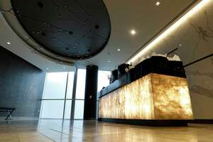 The distinctive lighting fixture featuring seven zodiac constellations was created by Richard Clarkson Studio, and is the entrance for the new United Polaris lounge at IAH airport, Tuesday, June 26, 2018, in Houston.