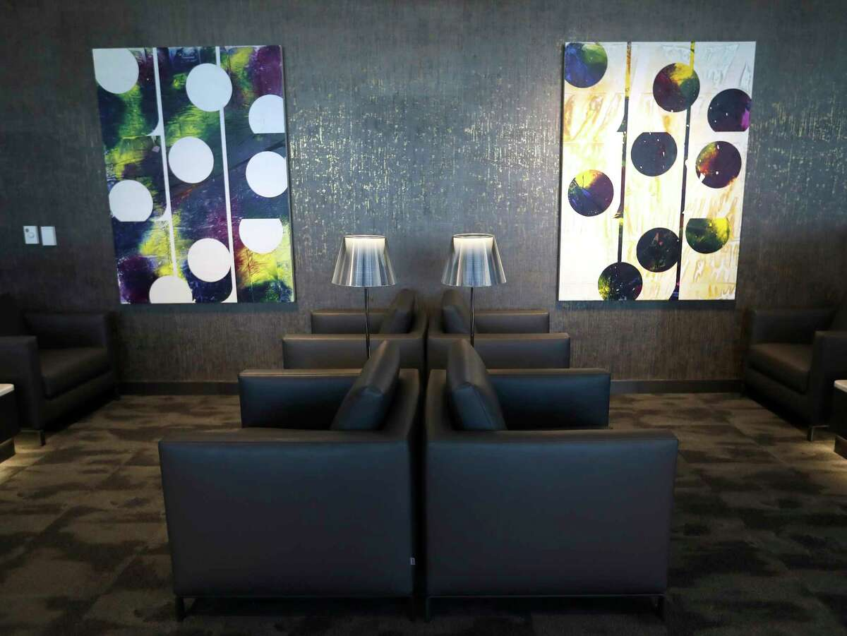 Artwork inside of the new United Polaris lounge at IAH airport, Tuesday, June 26, 2018, in Houston.