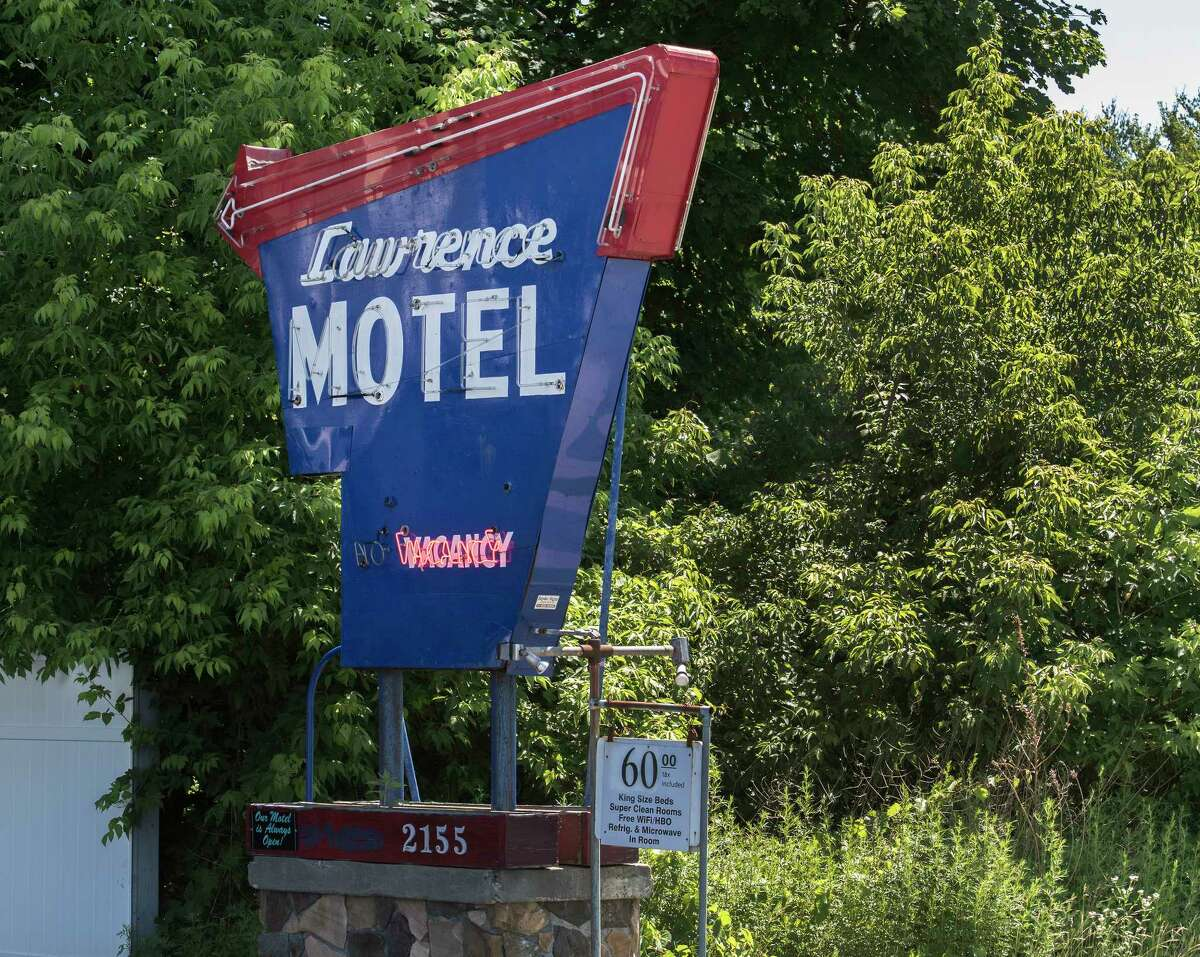 The marque at the front of the Lawrence Motel where a body was discovered earlier in the week on Central Avenue Tuesday June 26, 2018 in Colonie, N.Y. (Skip Dickstein/Times Union)