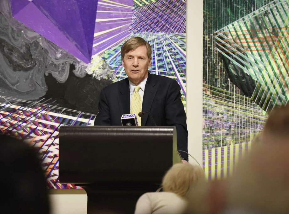 "Greenwich Library Board of Trustees President Rob Marks speaks at the revealing of the Greenwich Reads Together book at Greenwich Library in May. The 2018 selection is ""Code Girls,"" by Liza Mundy, which details the contributions of the women who served as codebreakers during World War II. Their meticulous efforts shortened the war and saved thousands of lives, but a strict vow of secrecy nearly erased their efforts from history. Photo: Tyler Sizemore / Hearst Connecticut Media / Greenwich Time"