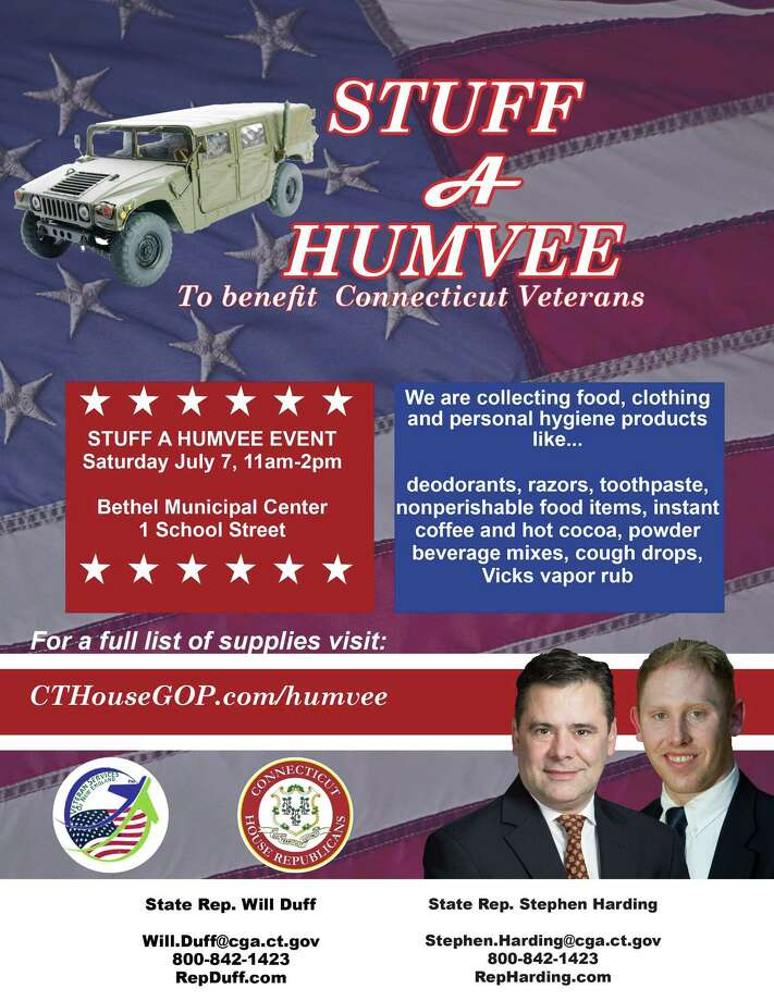 """State Reps. Will Duff, R-Bethel, and Stephen Harding, R-Brookfield, are working with Veterans Services of New England to host the """"Stuff a Humvee"""" event, which will be held from 11 a.m. to 2 p.m. July 7 at Bethel town hall. Photo: / Contributed Photo"""