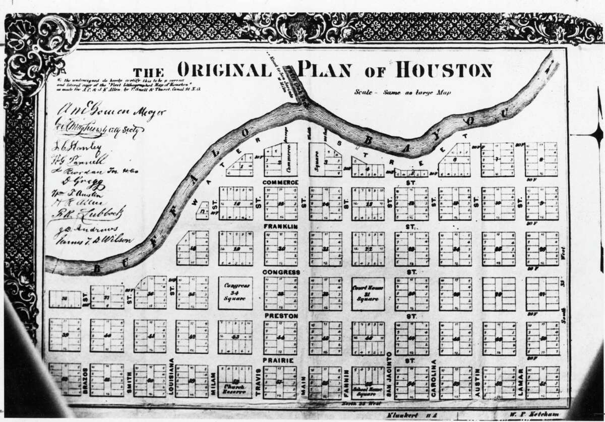 Houston in 1836: At the time Houston was founded, the Allen brothers commissioned Gail Borden to produce a map of the new city. Reproduced on the 1869 wood map, the original map shows a city of 62 blocks hugging Buffalo Bayou with space reserved for a courthouse, the Congress of the Republic, churches and schools. Within 10 years, the city had outgrown the original site.