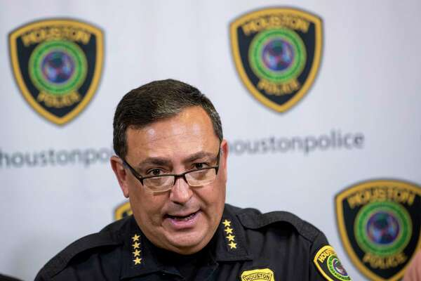 Houston Police Chief Art Acevedo announces the arrest of a murder-for-hire suspect during a news conference on Tuesday, June 26, 2018, in Houston. Acevedo said that Mohammed Mohamed was arrested in connection with an attempt to hire a hit on a Houston Police officer.
