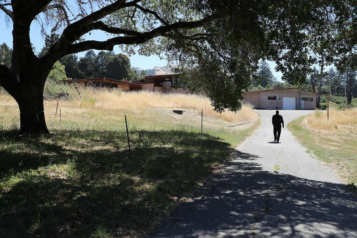 Tracy �Unk� Haynes, a Lob Cabin Ranch senior counselor and 37-year employee, walks behind the school building near an oak tree at Log Cabin Ranch on Tuesday, June 26, 2018, in La Honda, Calif.