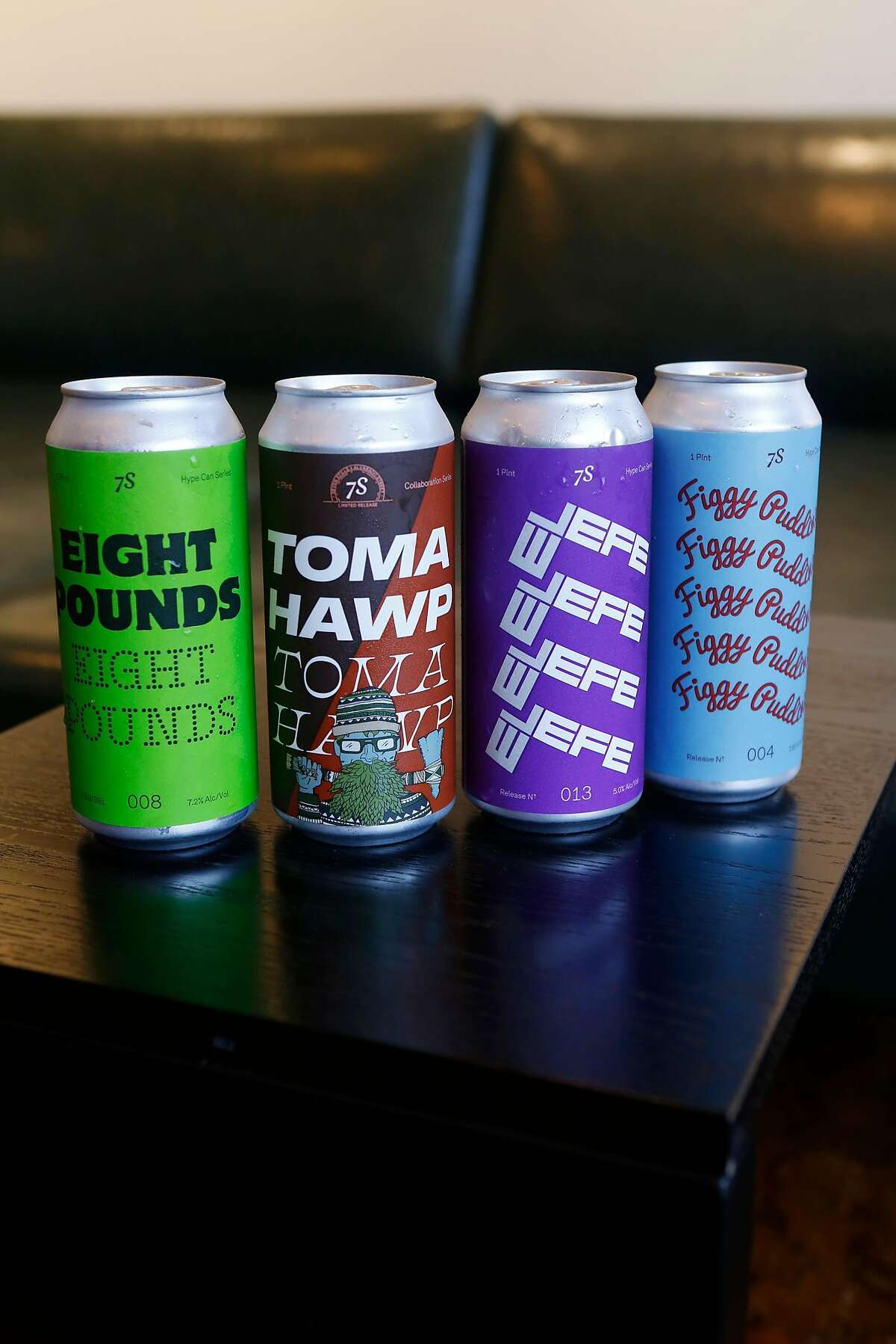 Beer cans Eight Pounds, Tomahawp, El Jefe, and Figgy Puddding at the Seven Stills Nob Hill bar located inside the Stanford Court Hotel on Thursday, June 21, 2018 in San Francisco, Calif.