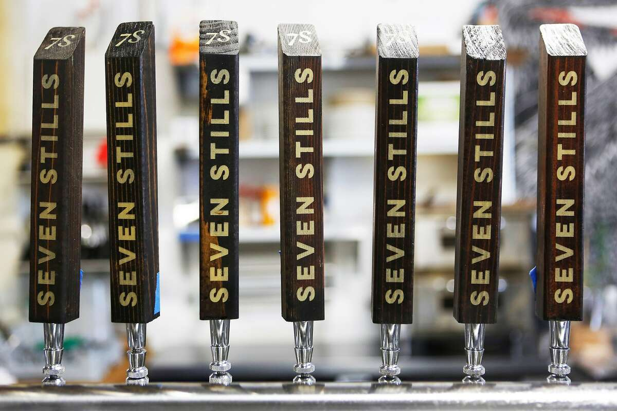 Tap handles at the Seven Stills brewery and distillery on Egbert Street.